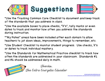 CCSS: Tracking Common Core 5th Math Checklist