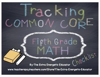 CCSS: Tracking Common Core 5th Math Checklist