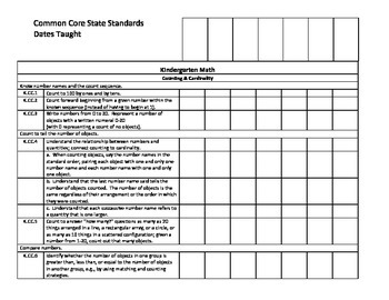 CCSS Tracking form for Dates Taught K-2