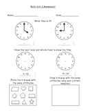 CCSS Unit 2 First Grade Math Assessment