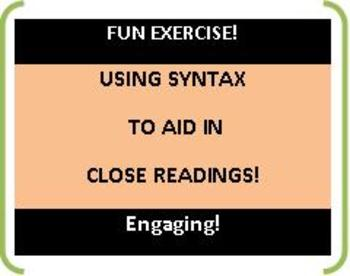 CCSS: Using Syntax Rules! Fun Exercises -- Close Reading Activity!