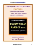 CCSS Vocabulary II: 110 One-Minute Daily Warm-Ups! With 10