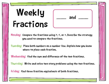 CCSS Weekly Work Pages: Fractions