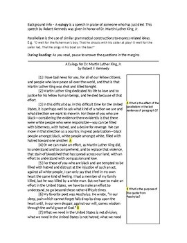 CCSS Worksheet on Diction & Inference - Eulogy for MLK