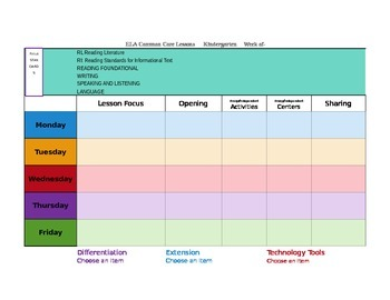 CCSS Mac Version Lesson Plan Template Kindergarten All Subj.-GA Science included