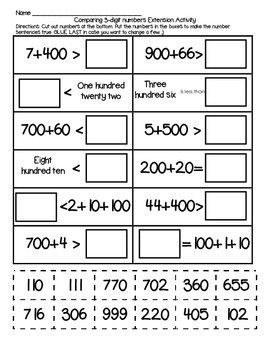 CCSS aligned 2.NBT.4 Compare 3-digit numbers Extension Activity Expanded form