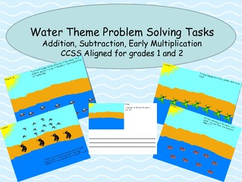 CCSS aligned Problem Solving Number Stories Water Theme Add, Subtract and more