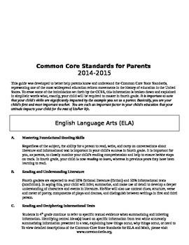 CCSS for 4th Grade Parents