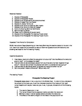 CCSS friendly unit plan for Persepolis