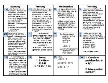 CCSS math 5th grade October HW calendar