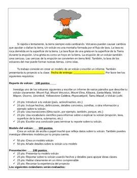 CCSS proyecto volcán con un reporte, modelo y presentación en español