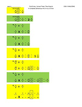 CCSS.6.NS.1 Dividing Fractions DOK4 Differentiated Assignment