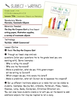 """CCSS.ELA  Writing Lesson Plan on """"The Day the Crayons Quit"""" by Drew Daywalt"""
