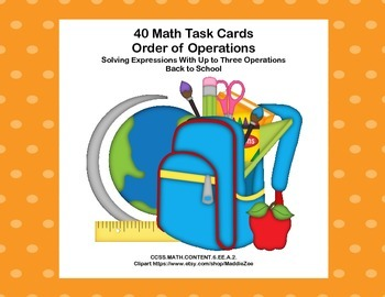 Simplifying Expressions-CCSS.MATH.6.EE.A.2.C-40 Math Task