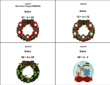 CCSS.MATH.6.EE.A.2.C-40 Math Task Cards- Simplifying Expressions-Christmas