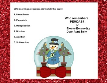 Simplifying Expressions-CCSS.MATH.6.EE.A.2.C-40 Math Task Cards-Christmas