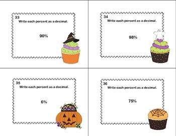 CCSS.MATH.CONTENT.6.RP.A.3.C-Sixth Grade Math Task Cards-Percents- Halloween