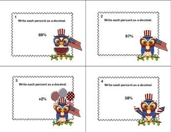 CCSS.MATH.CONTENT.6.RP.A.3.C-Sixth Grade Math Task Cards-Percents- Patriotic