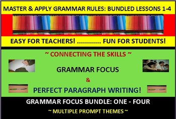 CCSS/PARCC-Aligned: Perfect Paragraph Writing & Grammar Fun! Bundled (1-4)