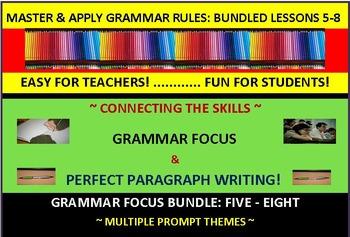 CCSS/PARCC-Aligned Paragraph Writing & Grammar Focus Fun! Bundle (5-8)