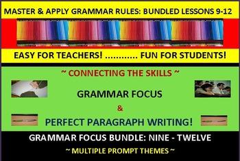 CCSS/PARCC-Aligned Paragraph Writing & Grammar Focus Fun! Bundle (9-12)