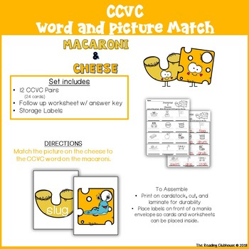CCVC Word & Picture Match Activity - Macaroni & Cheese