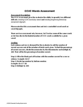 CCVC Words Assessment