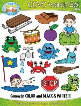 CCVC Words Clipart {Zip-A-Dee-Doo-Dah Designs}
