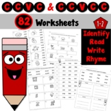 CCVC and CCVCC Worksheets to Identify, Read, Write, and Rhyme