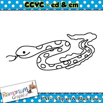 CCVC short vowel ed & em clip art