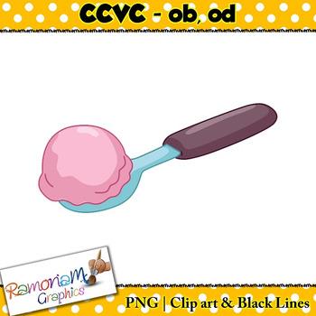 CCVC short vowel ob, od clip art