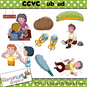 CCVC short vowel ub, ud clip art