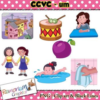 CCVC short vowel um clip art