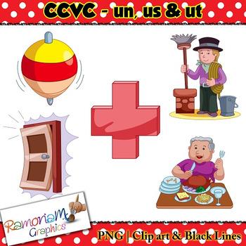 CCVC short vowel un, us & ut clip art