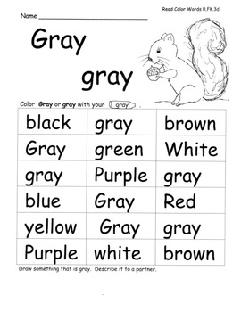 Colors/Color Word Study w/ C.Core Speaking Listening Activities Plans Assessment