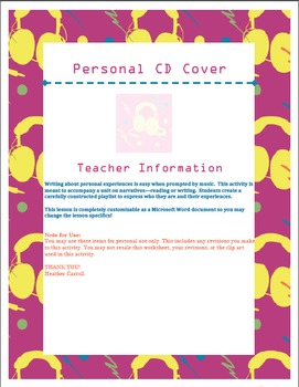 CD Cover Project: Getting Personal with Narrative Writing