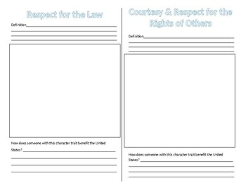 CE.4a-g Traits of Good Citizens Booklet