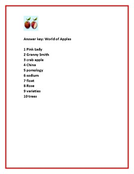 CELEBRATE JOHNNY APPLESEED DAY/ BOTANY: WORLD OF APPLES ACTIVITY