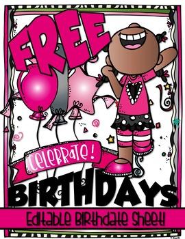 CELEBRATE BIRTHDAYS Free Editable Birthdate Practice