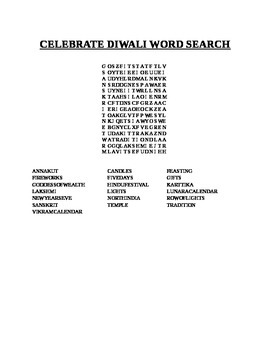 CELEBRATE DIWALI WORD SEARCH