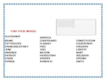 CELEBRATE FLAG DAY!: WORD SEARCH