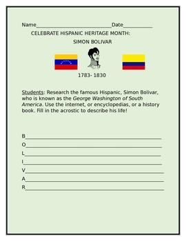 CELEBRATE HISPANIC HERITAGE MONTH: ACROSTIC: SIMON BOLIVAR