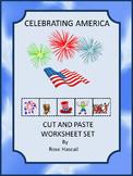 Patriotic American Symbols, Special Education or Kindergarten Cut and Paste