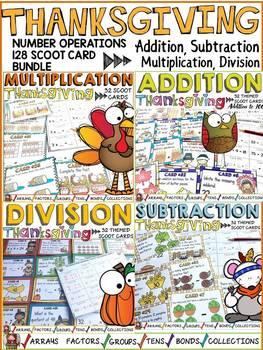 CELEBRATIONS TASK CARD BUNDLE : ADDITION, SUBTRACTION, MULTIPLICATION, DIVISION