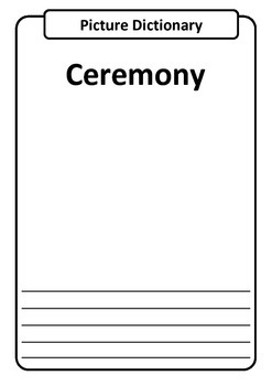 CELEBRATIONS Picture Dictionary Template