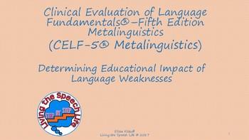 CELF-5 Metalinguistics: Test Descriptions and Interpretation