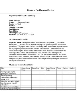 Speech Therapy-CELF-5 Pragmatics Profile Summary