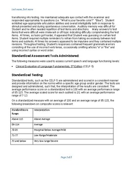 CELF-5 Report Template ages 5-8
