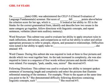 CELF-5® Screener Informal Summary Template