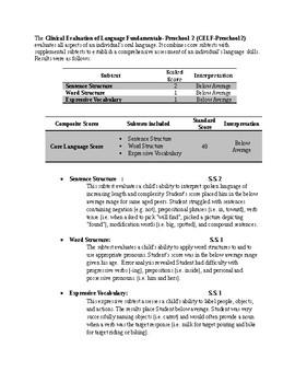 Speech Therapy-CELF-Preschool Report Template